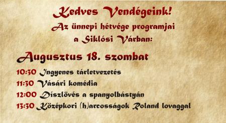 2018. augusztus 20. ünnepi programok a Siklósi Várban